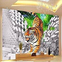 3D Kinder Tapete Tiger Down Broken Wall Großes