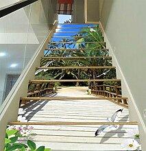 "3D Kokosnussbäume Brücke 581 Stair Risers Dekoration Fototapete Vinyl Aufkleber Tapete DE Carly (13x H:18cm x W:102cm (7""x40""))"