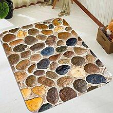 3D Kopfsteinpflaster 98 Rutschfest Teppich Matte
