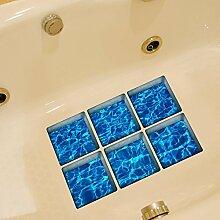 3D kreative Meer Wasser rutschfeste selbst Klebstoff Badewanne Sticker Blatt 130 * 130mm 6er Set #08