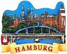 3D-Kühlschrankmagnet, Hamburg Deutschland,