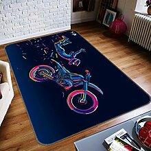 3D Kunst Gefärbt Motorrad 336 Rutschfest Teppich