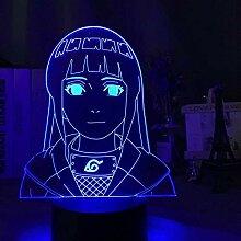 3D Lampe Anime Naruto Hinata Hyuga Figur LED