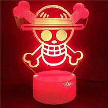 3D Lampe Anime One Piece Logo Led Nachtlicht