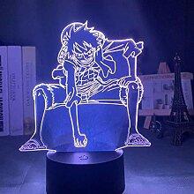 3D-Lampe Anime One Piece Monkey D Ruffy Figur Led