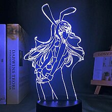 3D Lampe Anime Sakurajima Mai Figur LED Nachtlicht