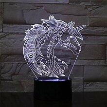3D-Lampe Die Einhorn-Farbe ändert sich mit