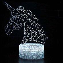 3D Lampe Einhorn LED Nachtlampe mit Fernbedienung