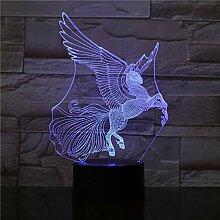 3D Lampe Einhorn Pegasus Visueller Lichteffekt mit