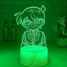 3D-Lampe, Kinder-Nachtlicht, Anime-Detektiv,
