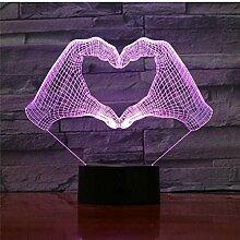 3D Lampe Liebe Herz Hand Geste LED Nachtlicht