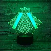 3d Lampe Maya Pyramide Batteriebetrieben 7 Farben