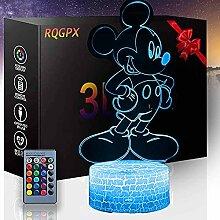 3D-Lampe, Nachtlicht für Kinder, Micky Maus, eine