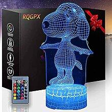3D-Lampe, optische Täuschung, Nachtlicht Snoopy,