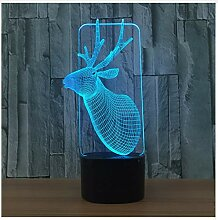 3D Lampe Weihnachten Elch 7 Farbe Visuelle Led