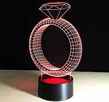 3D Lava Lampala Diamant Ring Kreative 7 Farbe 3D