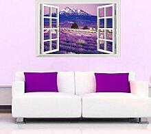 3D Lavendel Blumen Fake Windows Wandtattoo House Aufkleber abnehmbarer Wohnzimmer Tapete Schlafzimmer Küche Art Bild Wandmalereien Sticks PVC Fenster Tür Dekoration + 3D Frosch Auto Aufkleber Geschenk