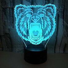 3D LED Bärenkopf Nachtlicht Illusion Lampe