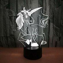 3D LED Einhorn Lampe Schreibtischlampe Nachtlicht
