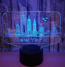 3D LED Illusionslampe Nachtlicht New York Form