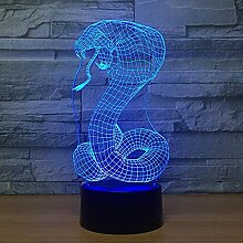 3D LED Illusionslampe Nachtlicht Schlange