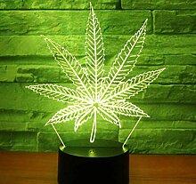 3D LED Nachtlicht Hanfblatt mit 7 Farben Licht