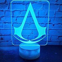 3D LED Nachtlicht Lampe Spiel Assassins Creed Logo