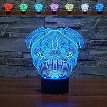 3D-LED-Nachtlicht mit Mops-Motiv, optische