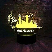 3D LED Nachtlicht Mubarak Ramadan Kareem Eid