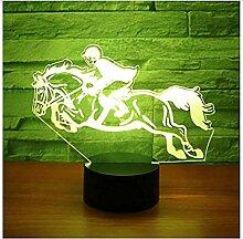 3D Led Nachtlicht Reiten Ein Pferd Reiten mit 7