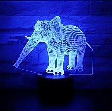 3D LED Nachtlichter Elefant mit 7 Farben des