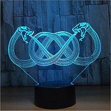 3D Led Nachtlichter Zwei Headed Schlange 3D 7