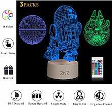 3D LED Star Wars Nachtlicht, ZNZ Illusion Lampe