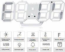 3D LED Wanduhr,Digital LED Licht Tisch & Wanduhr