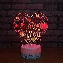 3D Licht Nachtlampe 7 Farben ändern Ich liebe