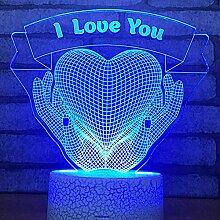3D Liebe Lampe Optische Täuschung LED Nachtlicht