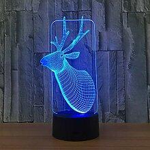 3D Light 3D Licht Weihnachten Hirsch 3D Nachtlicht