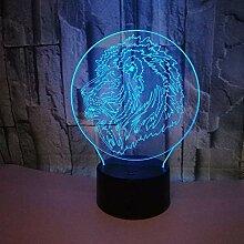 3D Löwe Lampe Nacht Licht USB Power 7 Farben