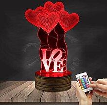 3D Love Balloon Tischlampe Kleine Nachtlicht
