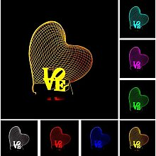 3D Love Heart LED Nachtlicht Romantische