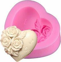 3D Love Herzförmige Rose Silikon Formen Kuchen