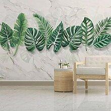 3D Marmor Wandmalerei Pflanze Grünes Blatt