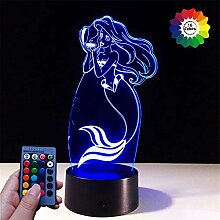 3D Meerjungfrau Lampe USB Power 7/16 Farben