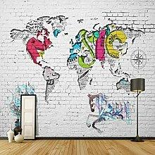 3D Moderne Weltkarte Tapete Backstein Hintergrund