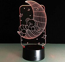 3D Mond Lampe USB Power 7 Farben Amazing Optical