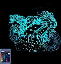 3D Motorrad Optical Illusions LED Lampe 7/16