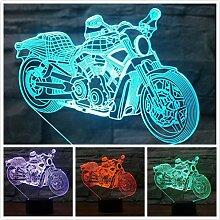 3D Motorrad Optische Illusions Lampe 7 Farben