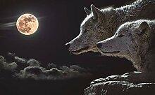 3D Murals Moderne Seide Kunstdruck Wolf Mond