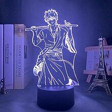 3D Nacht Lampe Illusion Lampe Gin Tama Gintoki LED