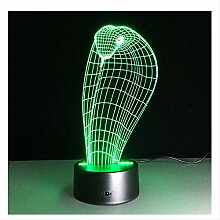3D Nachtlicht 3D Cobra Lampe 7 Farbe Led Nacht